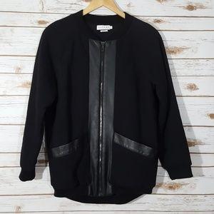Velvet Faux Leather Trim Bomber Jacket Size SP